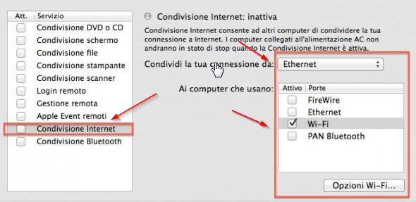 mac condividere internet